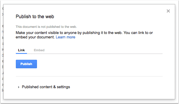 Using the Publish to web tab in Google Docs