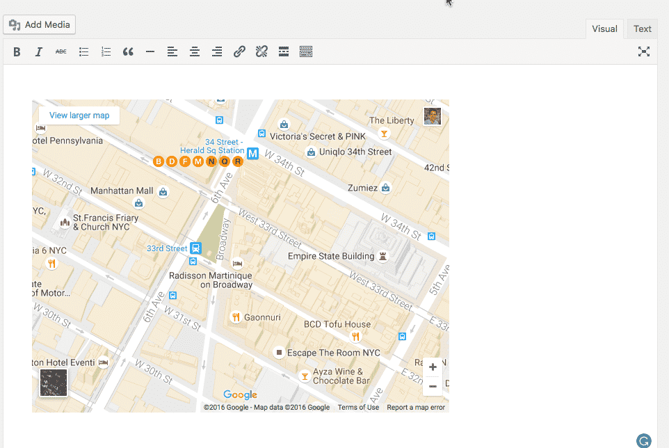 A Google Maps embed in WordPress