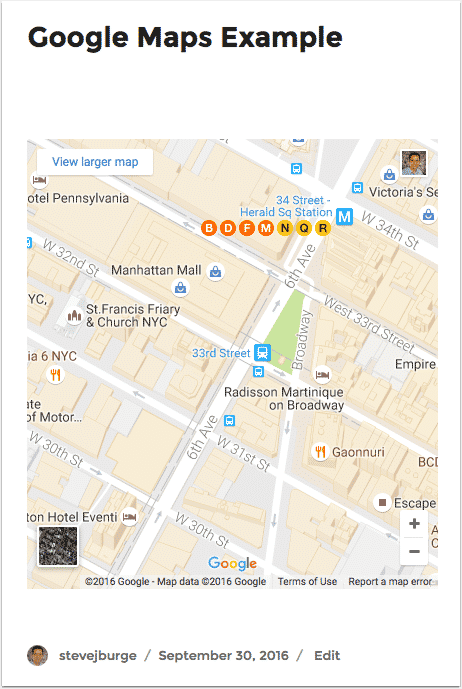 A responsive Google Maps Embeds in WordPress