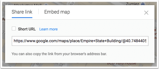 The URL to share a Google Map