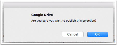 Google Docs, are you sure you want to publish screen