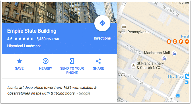 The Share link on a sample Google map