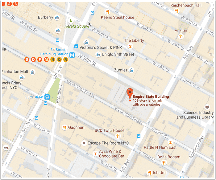 A sample Google maps, before embedding in WordPress