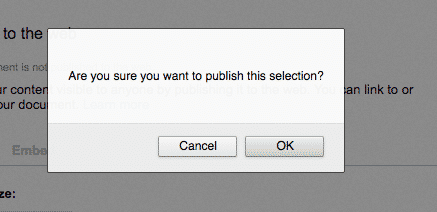 Are you sure you want to publish button in Google Drawings