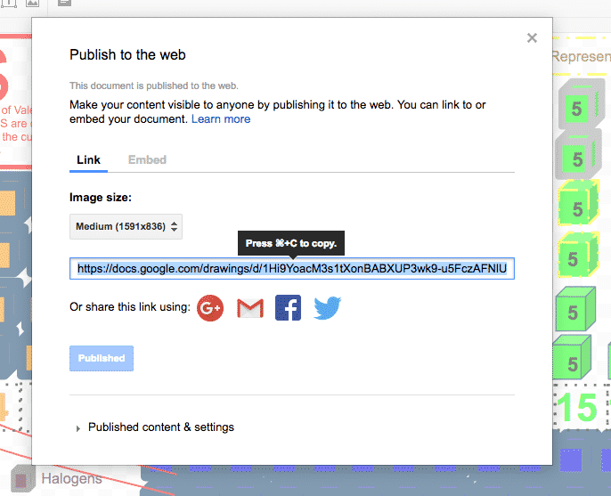 The URL to publish a Google Drawing