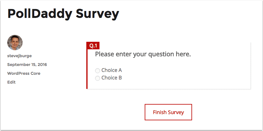 Viewing a responsive PollDaddy survey in WordPress