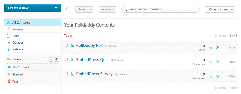 The main polldaddy dashboard