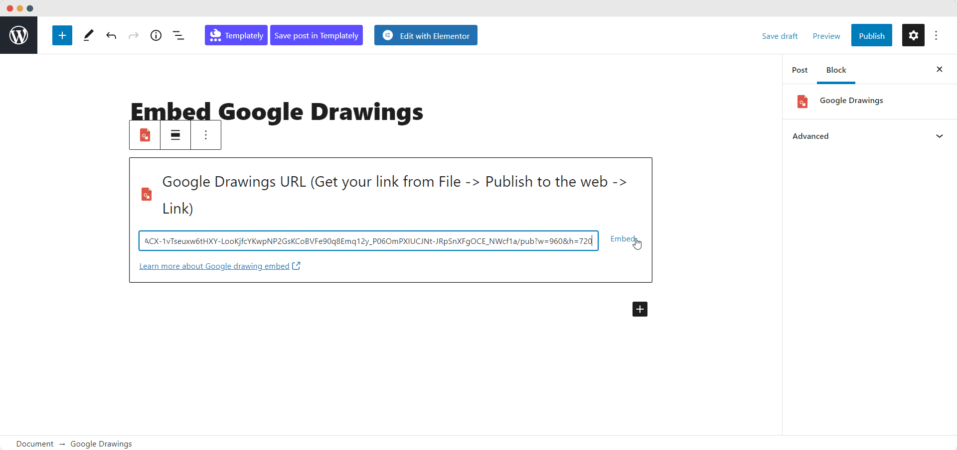 Embed Google Drawing