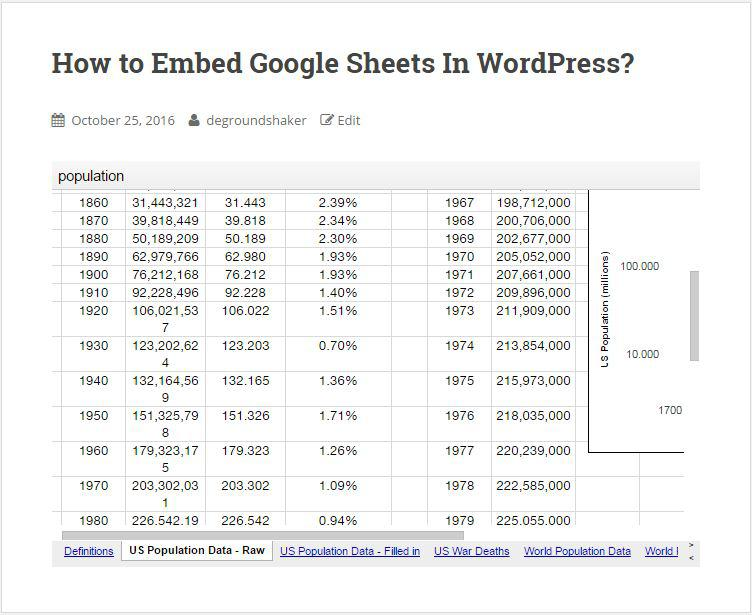 Google Sheets embed in WordPress with scrollbar