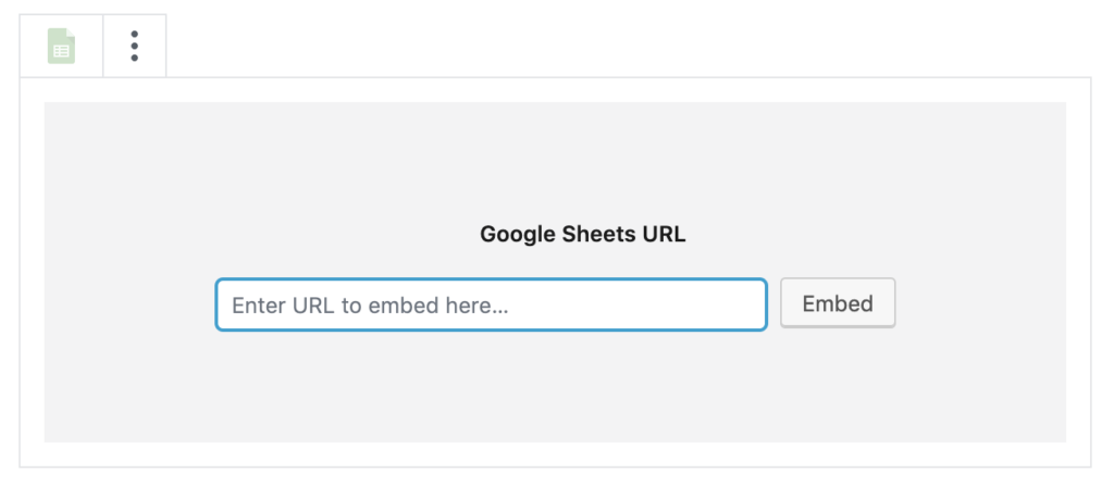 Add a URL to a WordPress post for a Google Sheets embed