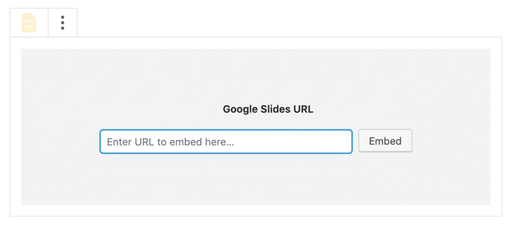Enter a Google Slides embed in WordPress