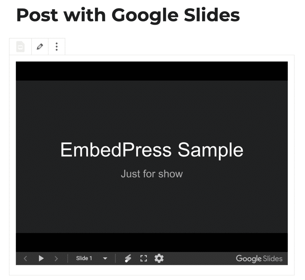 Create a Google Slides embed in WordPress
