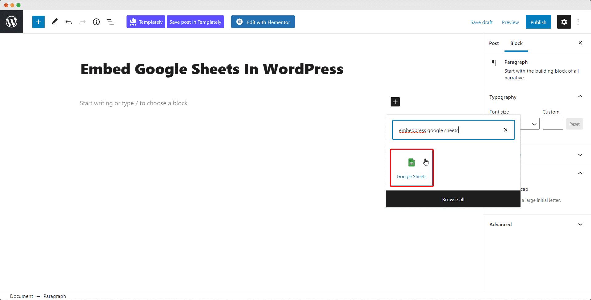 Embed Google Sheet