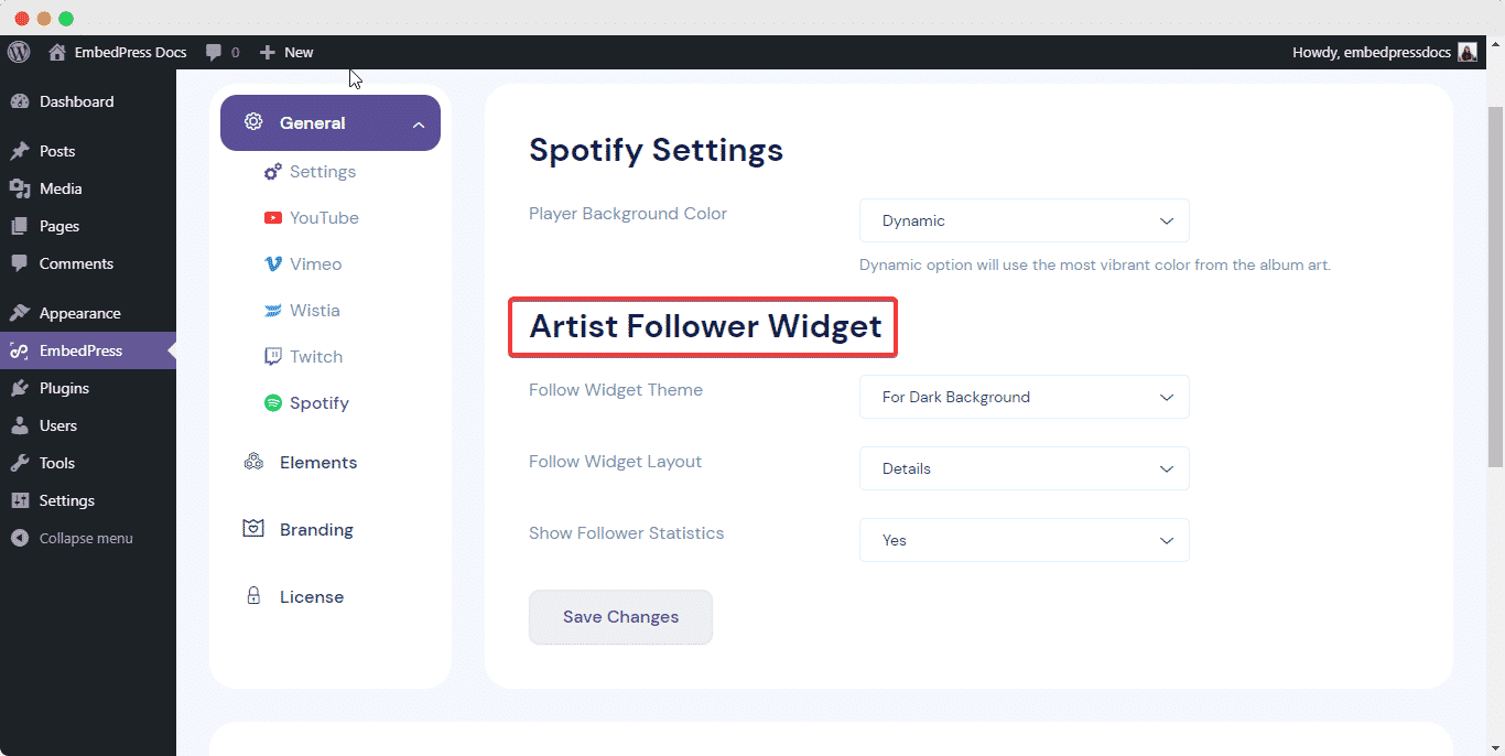 embed Spotify music