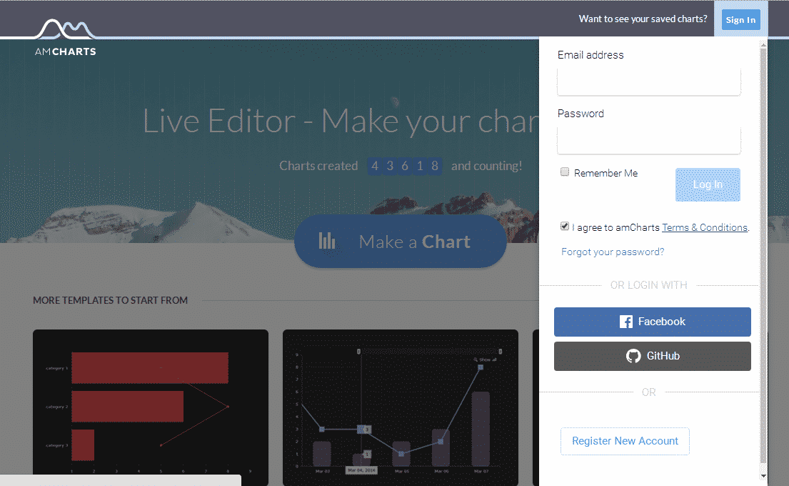 Login to AmCharts for WordPress embeds