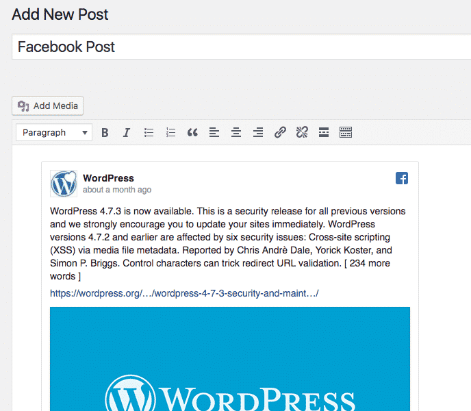 A WordPress Facebook embed inside a post in the admin area