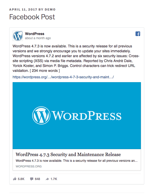 A WordPress Facebook embed inside a post