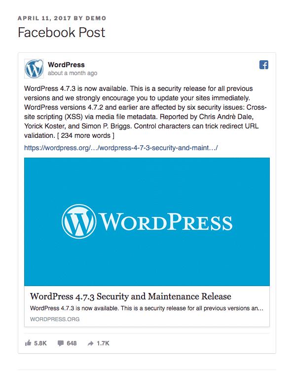 A WordPress Facebook embed inside a post