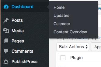 The PublishPress admin links