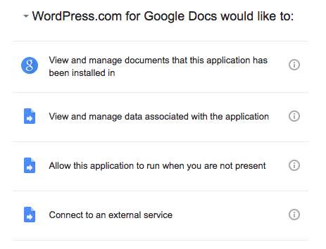 Permissions for Google Docs to connect to WordPress.com