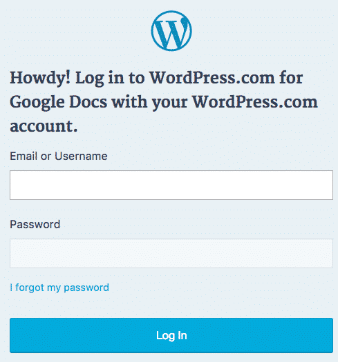 The WordPress.com login screen