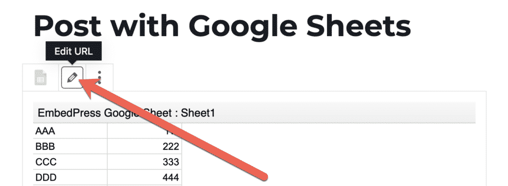 Edit a WordPress post with a Google Sheets embed