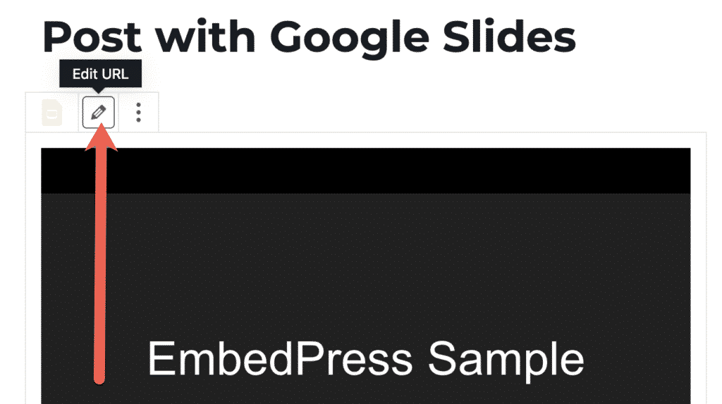 Edit a Google Slides embed in WordPress