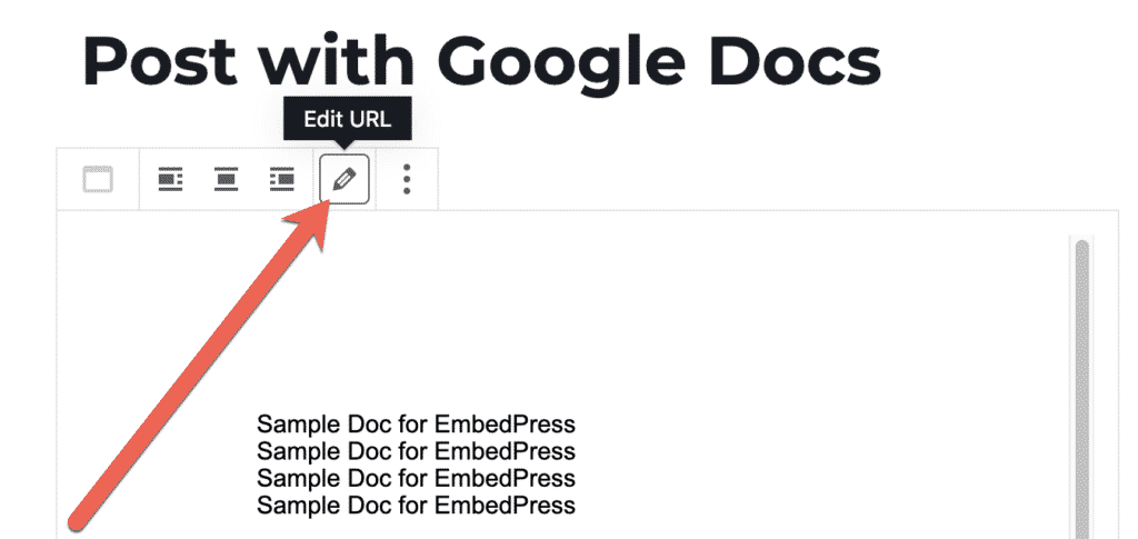 Edit a Google Docs embed in WordPress