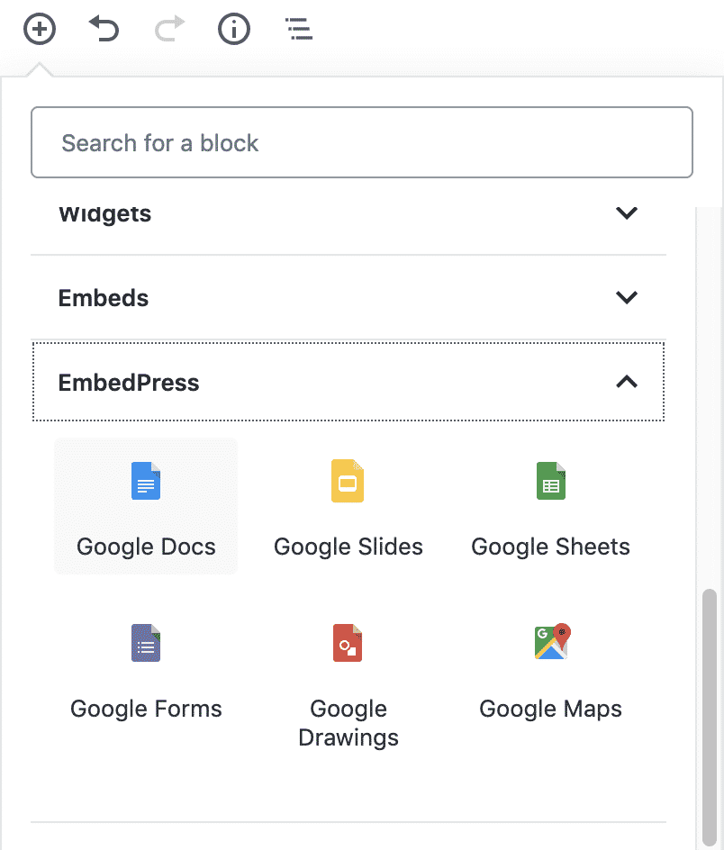 Choosing a Google Docs embed block in WordPress