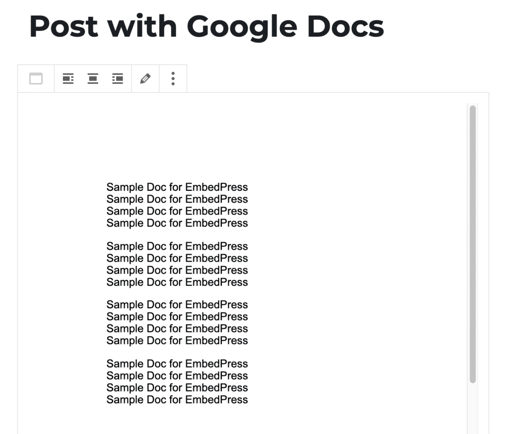 Viewing a Google Docs embed in the WordPress editor