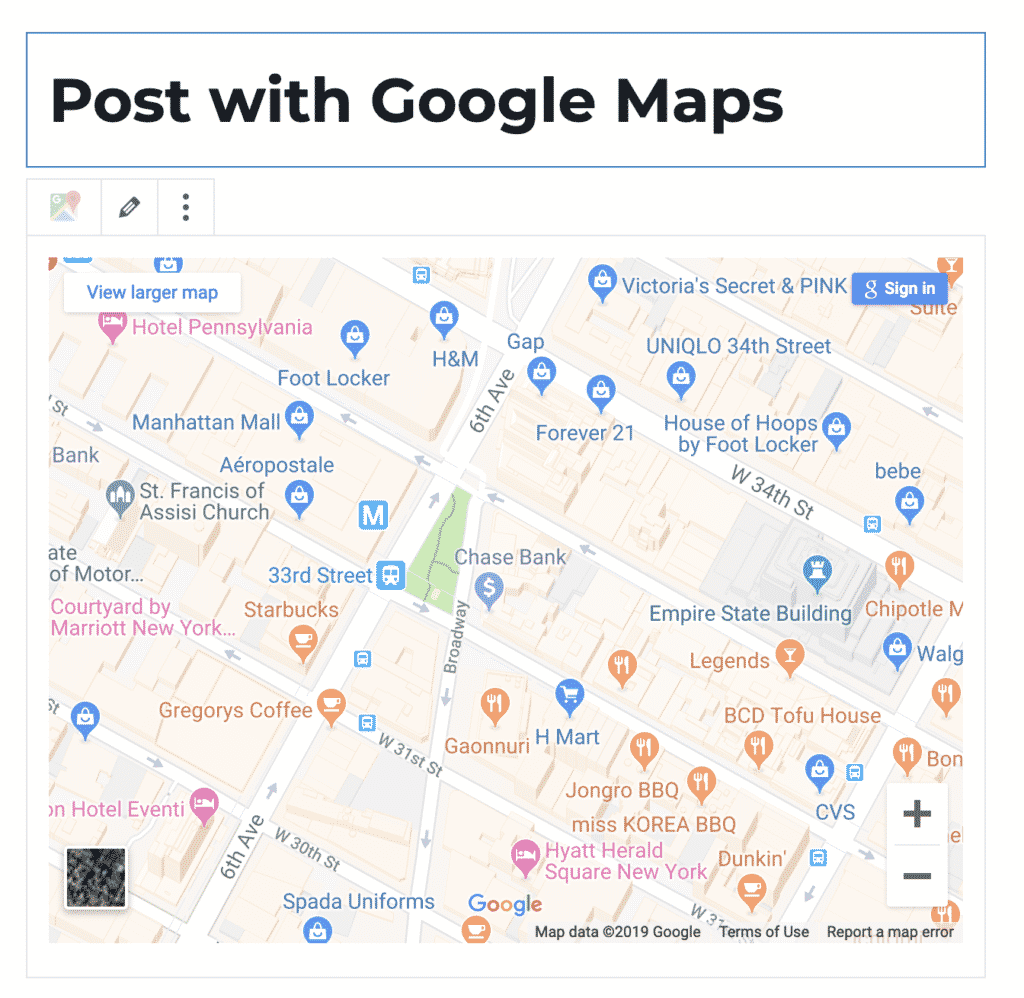 Google Maps Embeds in WordPress Posts and Pages on