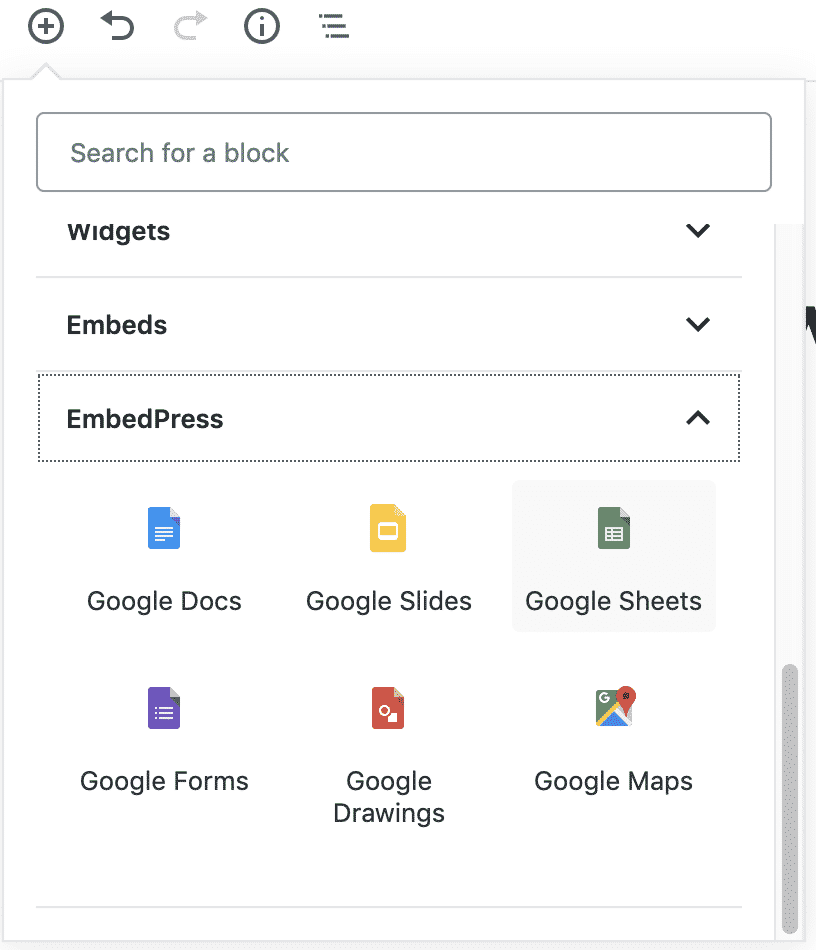 Google Sheets embed blocks for Gutenberg