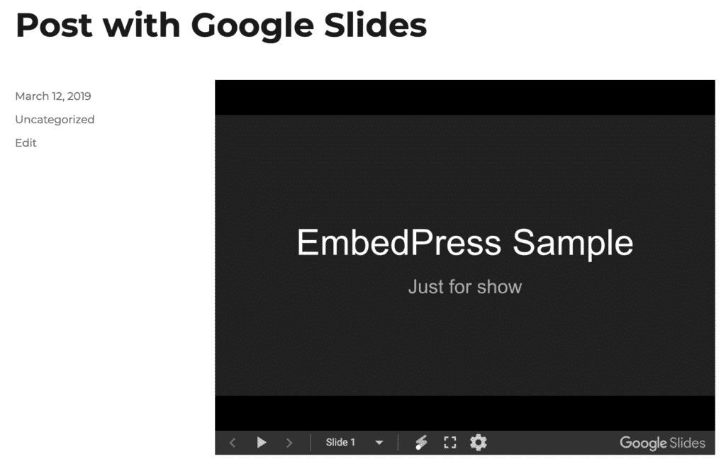 Post a Google Slides embed in WordPress