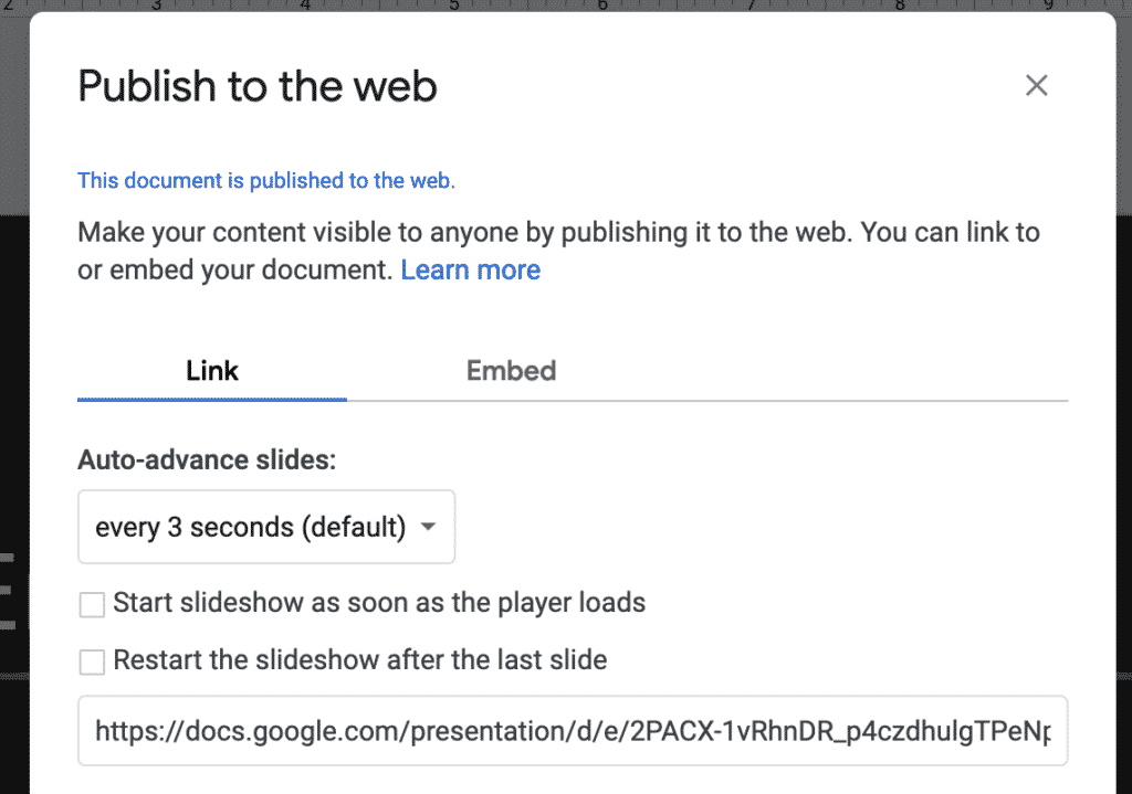 Publish Google Slides embed for use in WordPress