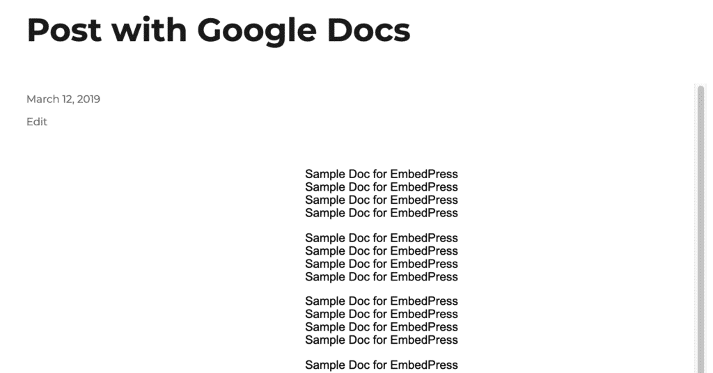 Viewing a Google Docs embed in WordPress