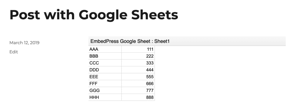 Publish a WordPress post with a Google Sheets embed