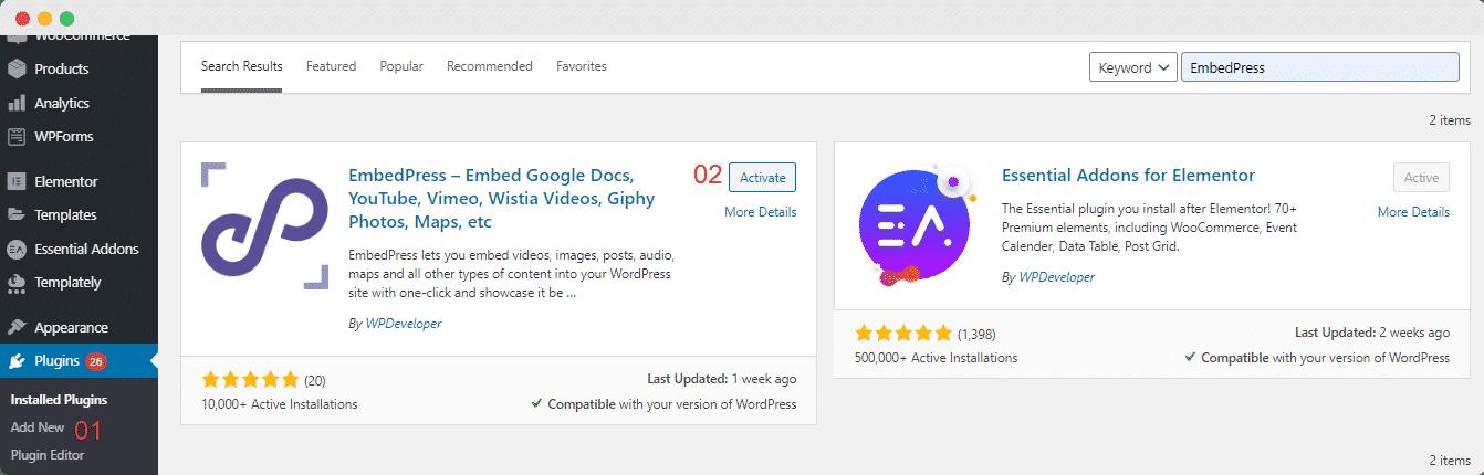 Install EmbedPress Pro