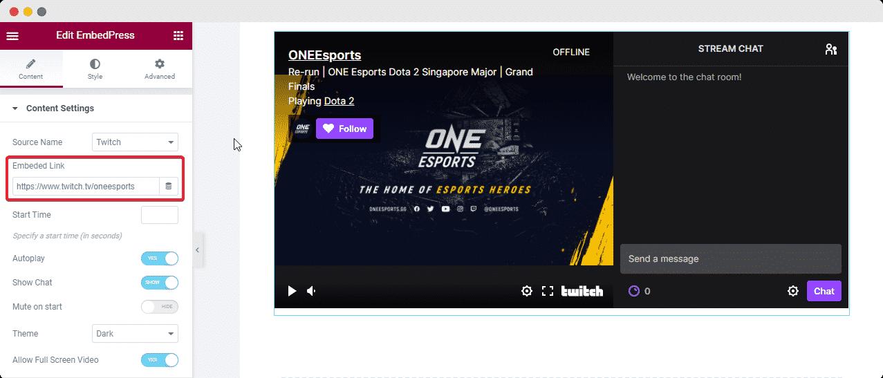 Twitch Live Site EmbedPress