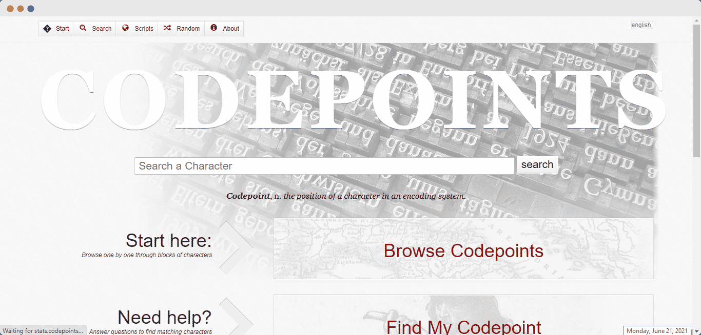 embed Codepoints codes
