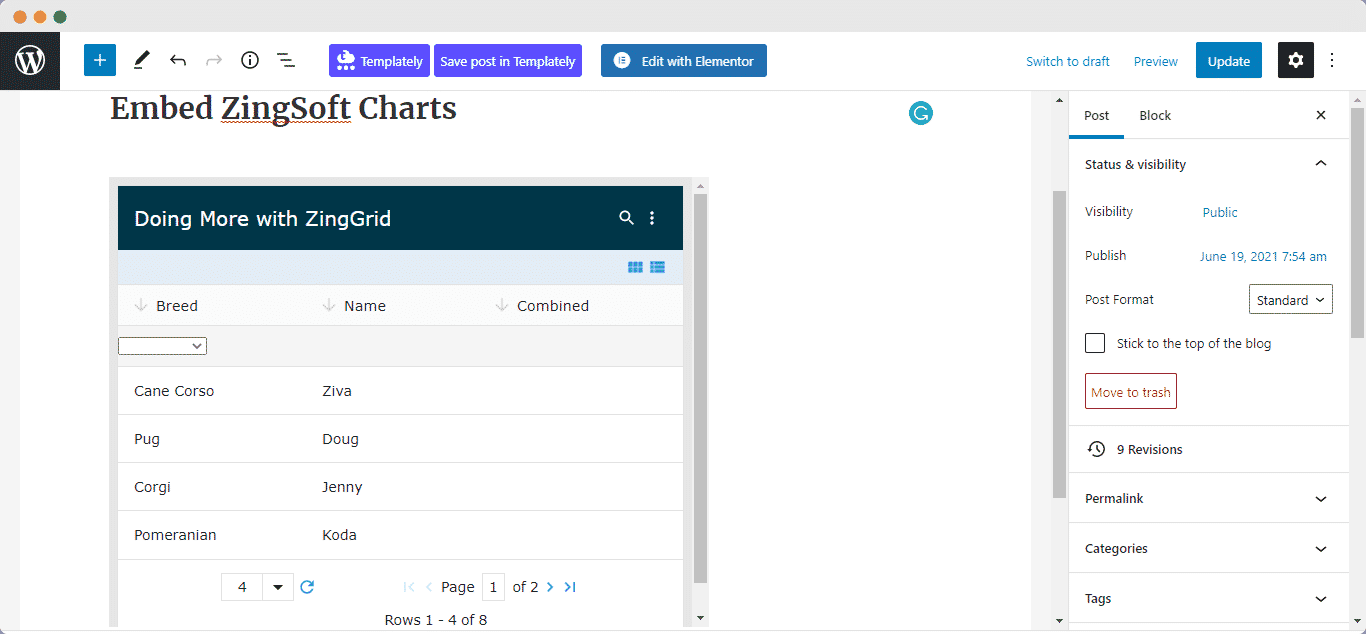 embed ZingSoft charts and grids