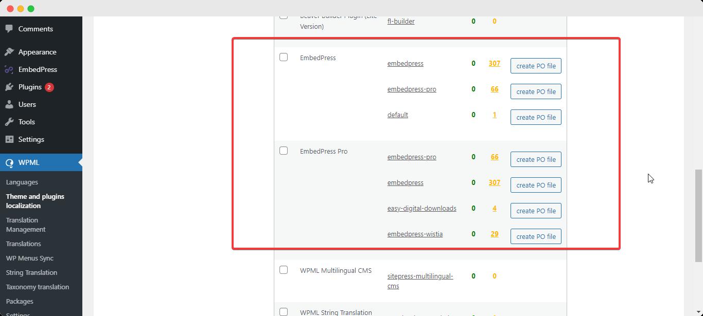 translate EmbedPress user interface WPML