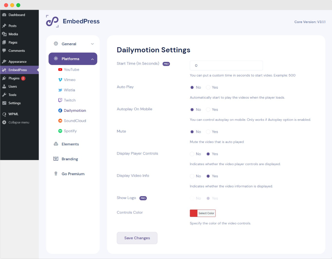 configure settings for Dailymotion videos