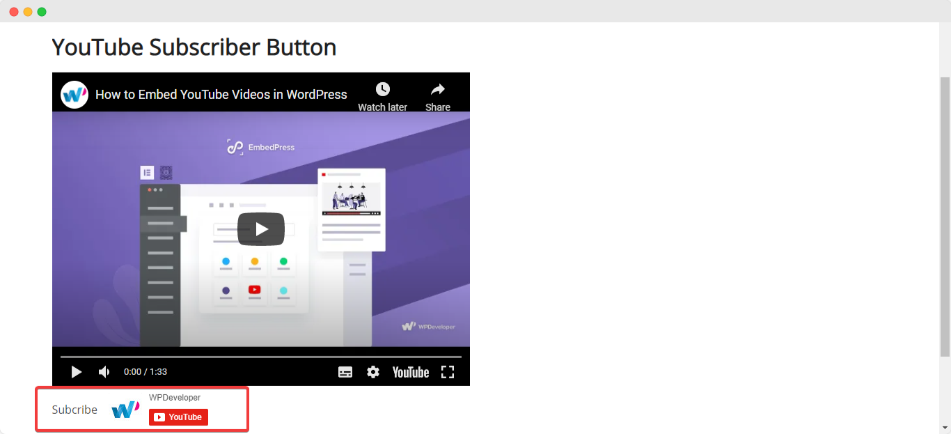 embed YouTube subscriber button
