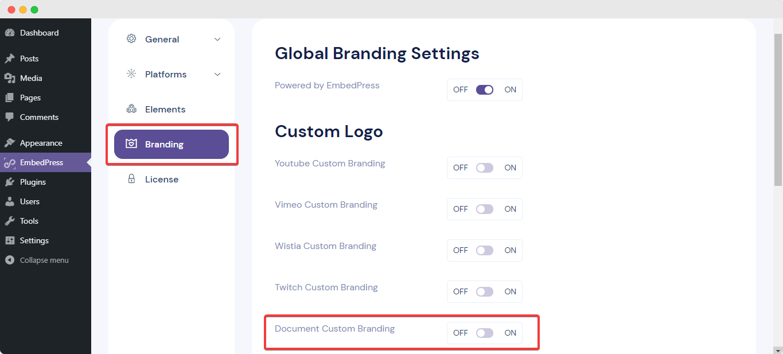document custom logo