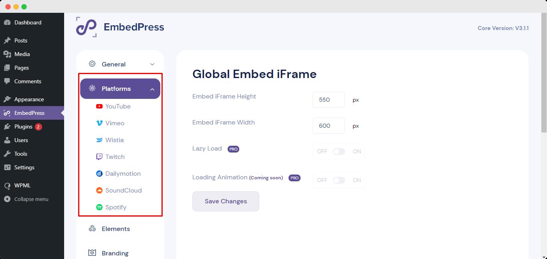 WordPress embed plugin
