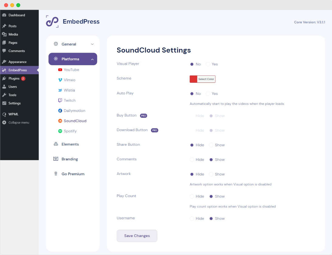 configure settings for SoundCloud audio embed